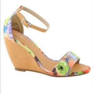 Floral Wedge Heels Sandals Strap Anne Marie Alison